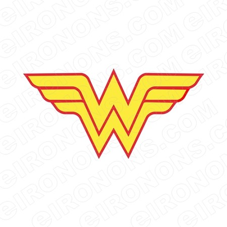 WONDER WOMAN LOGO RED AND YELLOW COMIC T-SHIRT IRON-ON TRANSFER DECAL CWW1
