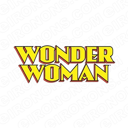 WONDER WOMAN LOGO RED, BLACK AND YELLOW COMIC T-SHIRT IRON-ON TRANSFER DECAL #CWW4
