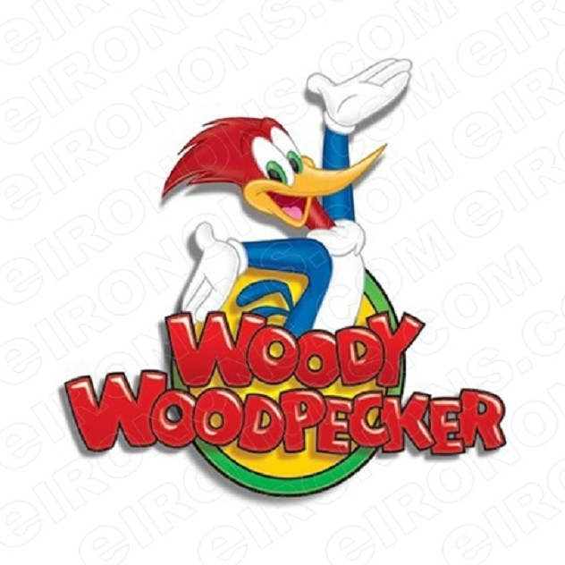WOODY WOODPECKER ON LOGO CHARACTER T-SHIRT IRON-ON TRANSFER DECAL #CWWP4